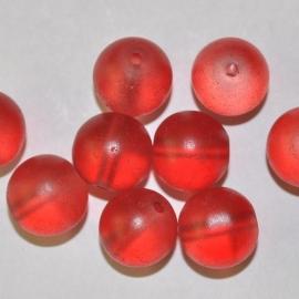Glas kralen mat 12mm rood
