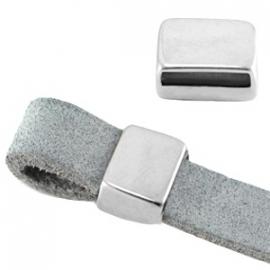 DQ leerschuiver rechthoek voor 10mm antiekzilver nikkelvrij 26976