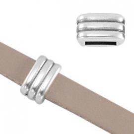 DQ leerschuiver ribbel voor 5mm antiekzilver nikkelvrij 27706