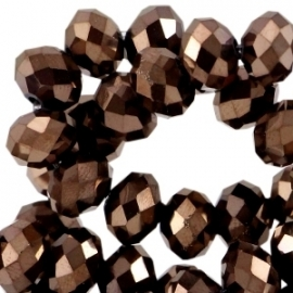 Top facet 8x6mm rondel copper brown metallic 32332
