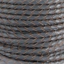 DQ Leer rond gevlochten 3mm antraciet grijs 28965