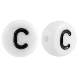 "Letterkraal ""C"" acryl plat rond 7mm wit-zwart"