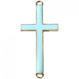 Kruis tussenzetsel 37x17mm licht blauw-goud