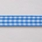 Geblokt lint 10mm per meter aqua/wit