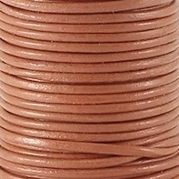 DQ Leer rond 2mm sandstone brown per 20cm