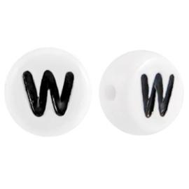 """Letterkraal """"W"""" acryl plat rond 7mm wit-zwart"""