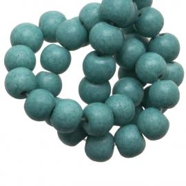 Glaskraal stonewash turquoise 6mm 10 stuks CE253
