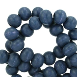 Houten kralen 6mm royal blue 38492 10 stuks