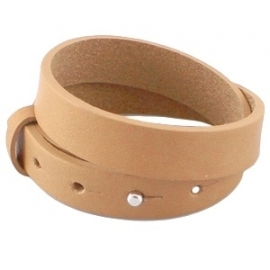 Cuoio armband dubbel 15mm leer raw sienna brown 20565