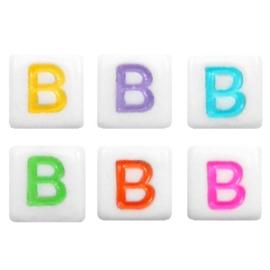 "Letterkraal ""B"" acryl vierkant 6x6mm multicolor-wit"