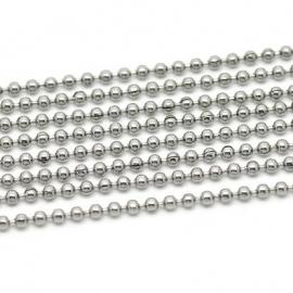 RVS Ball chain ketting 2mm, 100cm Y1401