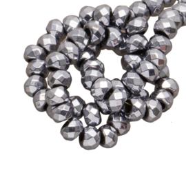 Hematite kralen facet 3x2mm silver grey 10 stuks H2316