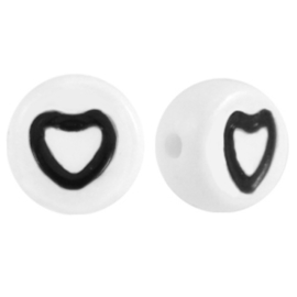 """Letterkraal """"hartje"""" acryl plat rond 7mm wit-zwart"""