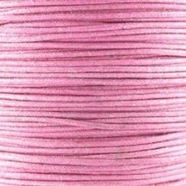Waxkoord roze metallic 1mm per meter