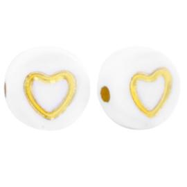 "Letterkraal ""open hartje"" acryl plat rond 7mm wit-goud 5 stuks"
