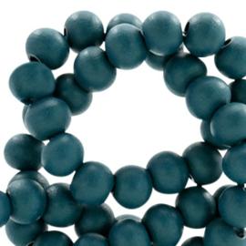 Houten kralen 6mm dark teal blue 46181 10 stuks