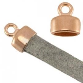 DQ eindkapje voor 5mm plat leer roségoud nikkelvrij 26902