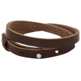 Cuoio armband dubbel 8mm leer dark brown 33873
