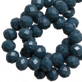 Facet 4x3mm rondel denim blue 15 stuks G229
