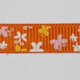 Lint met vlinders 10mm per meter oranje