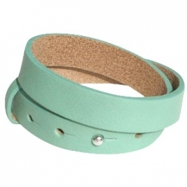 Cuoio armband dubbel 15mm leer pastel spearmint green 20247