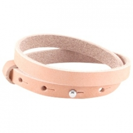 Cuoio armband dubbel 8mm nubuck leer light coral pink 27390