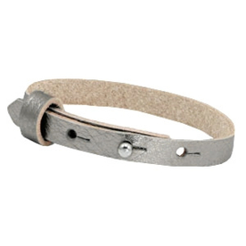 Cuoio armband 8mm leer metallic silver 46373