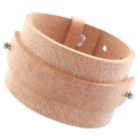 Cuoio armband breed 15mm leer naturel 20061