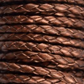 DQ Leer rond gevlochten 4mm dark brown metallic A601