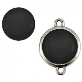 Cabochon Polaris 12mm shiny nero zwart 11709