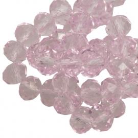 Facet 4x3mm rondel light pink 21 stuks G213