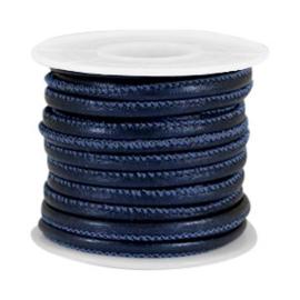 Gestikt imitatie leer 4x3mm animal print midnight blue metallic 40238