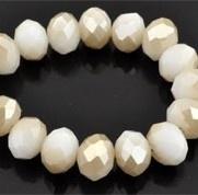 Facet 8x6mm rondel white alabaster gold coating