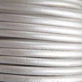 DQ Leer rond 3mm zilver metallic per 20cm
