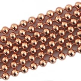 DQ ball chain ketting 2mm roségoud, 50cm 7487