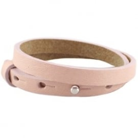 Cuoio armband dubbel 8mm leer rose smoke 18837