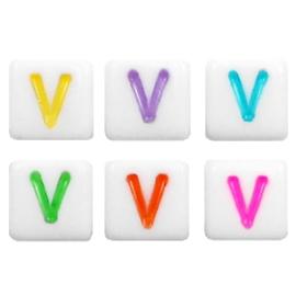 """Letterkraal """"V"""" acryl vierkant 6x6mm multicolor-wit"""