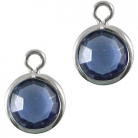 DQ facethanger zilver-sapphire blue 10x7mm 24760