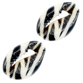 Kauri schelp kralen zebra black-white 67901