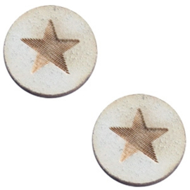 Cabochon plat 12mm hout grey star 42019