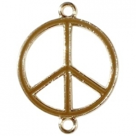 Peace tussenzetsel 29x22mm bruin-goud