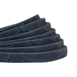 DQ Leer plat 5mm reptile dark denim blue 40447