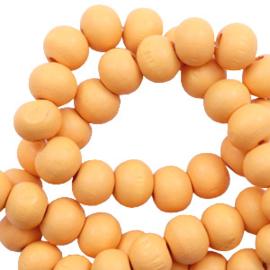 Houten kralen 6mm cadmium yellow 60665 10 stuks