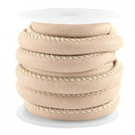 DQ Stitched nappa leer 4mm beige bruin 25277