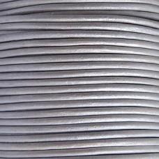 DQ Leer rond 3mm grijs metallic per 20cm