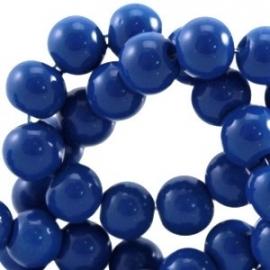 Glaskraal opaque 8mm donker blauw 10 stuks 23874