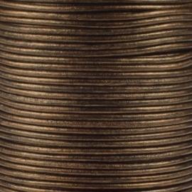 DQ Leer rond 2mm brons metallic per 20cm