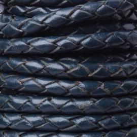 DQ Leer rond gevlochten 4mm donker blauw mf17816