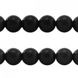 Turquoise Keramiek kralen rond 10mm zwart