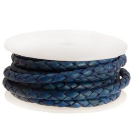 DQ Leer rond gevlochten 3mm electric blue DA515